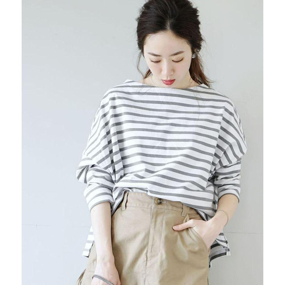 日本 zootie - [撥水/撥油加工] 抗油污耐洗純棉長袖上衣-條紋-灰白