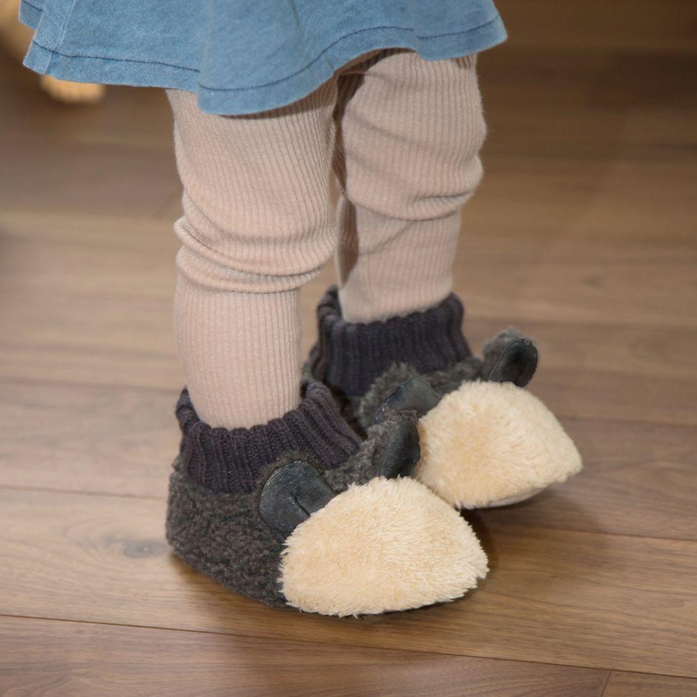 日本 BISQUE - 動物造型超柔軟保暖室內鞋(底部止滑)-熊貓-米 (14-16cm)