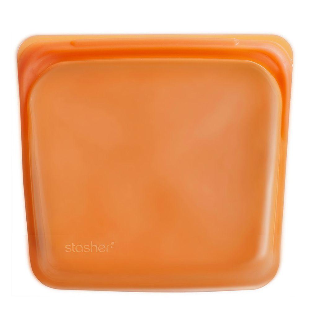 Stasher - 食品級白金矽膠密封食物袋-Sandwich方形-柑橙橘 (443ml)