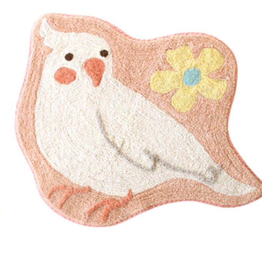 日本 TOMO - 可愛鸚鵡腳踏墊-粉 (約55x61cm)