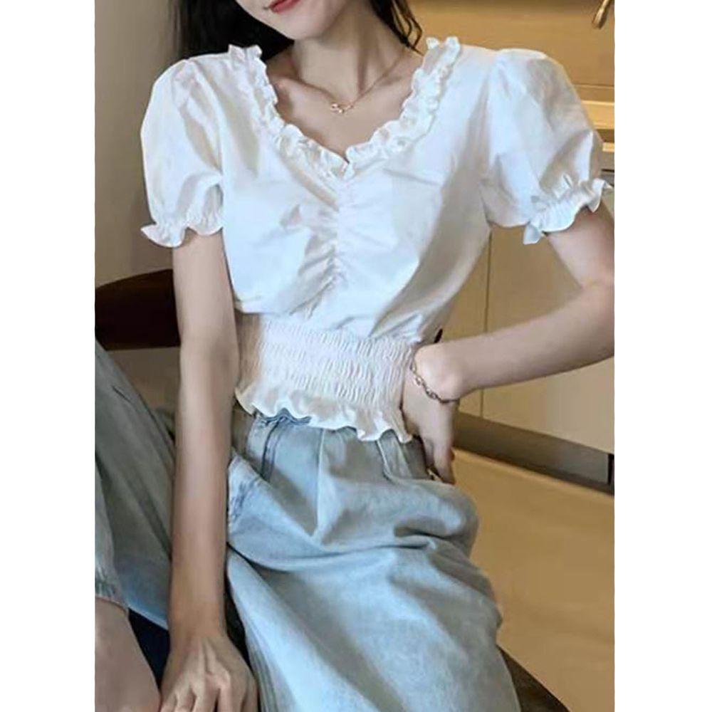 日本 GRL - 公主抓皺縮腰後蝴蝶結短版短袖上衣-天使白