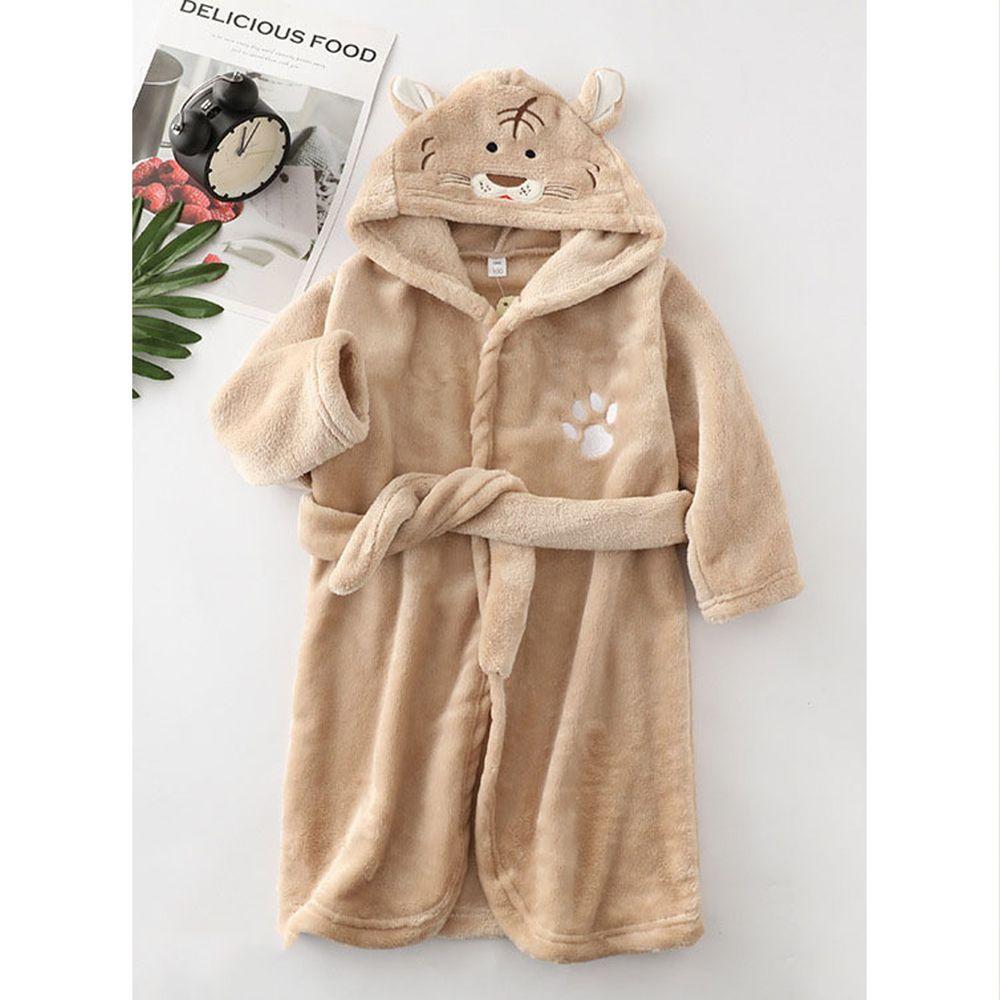 超柔軟珊瑚絨浴袍睡衣-棕色老虎