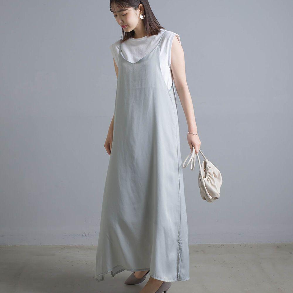 日本女裝代購 - 奢華光澤感細肩帶背心洋裝-薄荷
