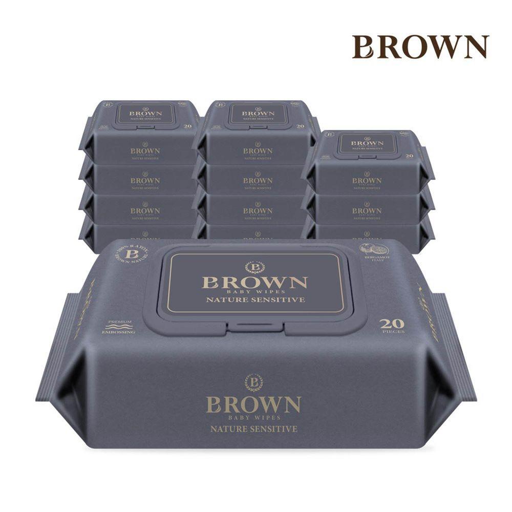 韓國BROWN - NATURE SENSITIVE濕紙巾-佛手柑20抽(含蓋)*12包