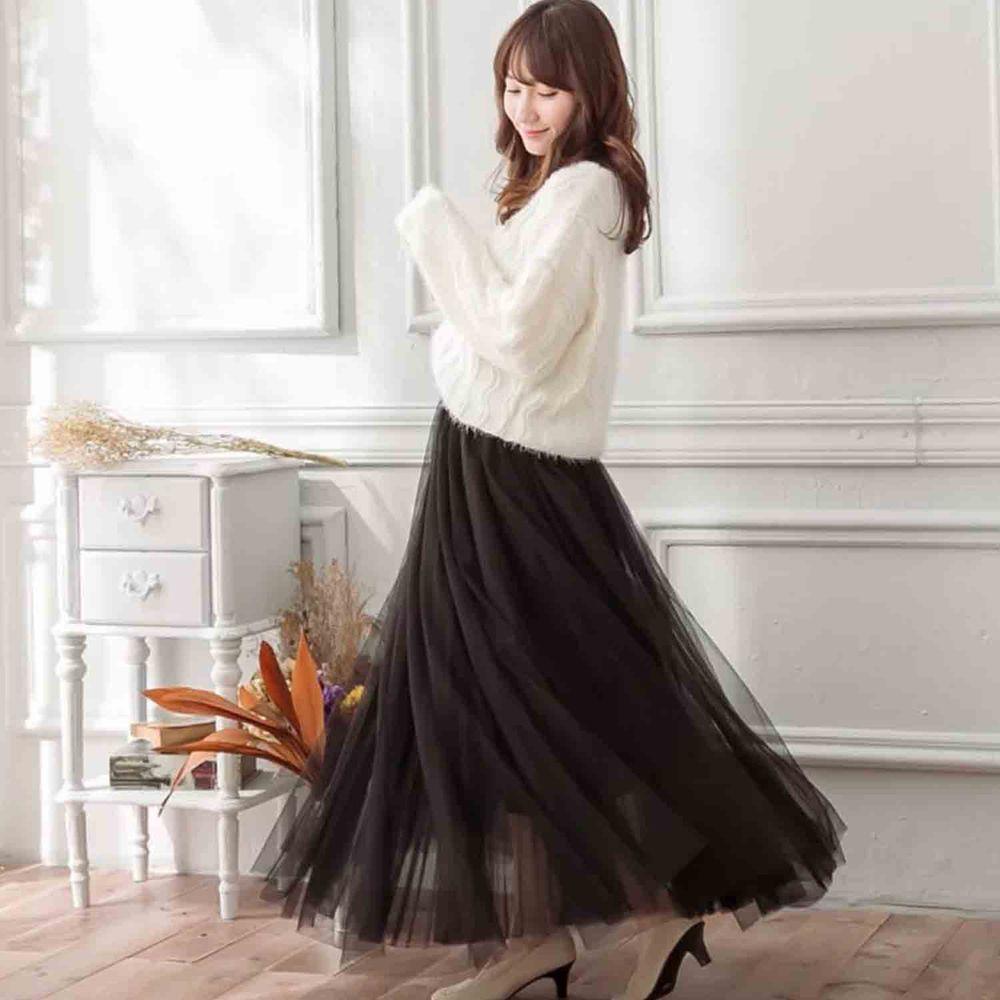 Peachy - 獨家訂製綿柔法式浪漫三層蓬紗裙-三層蓬版-華麗黑 (F)