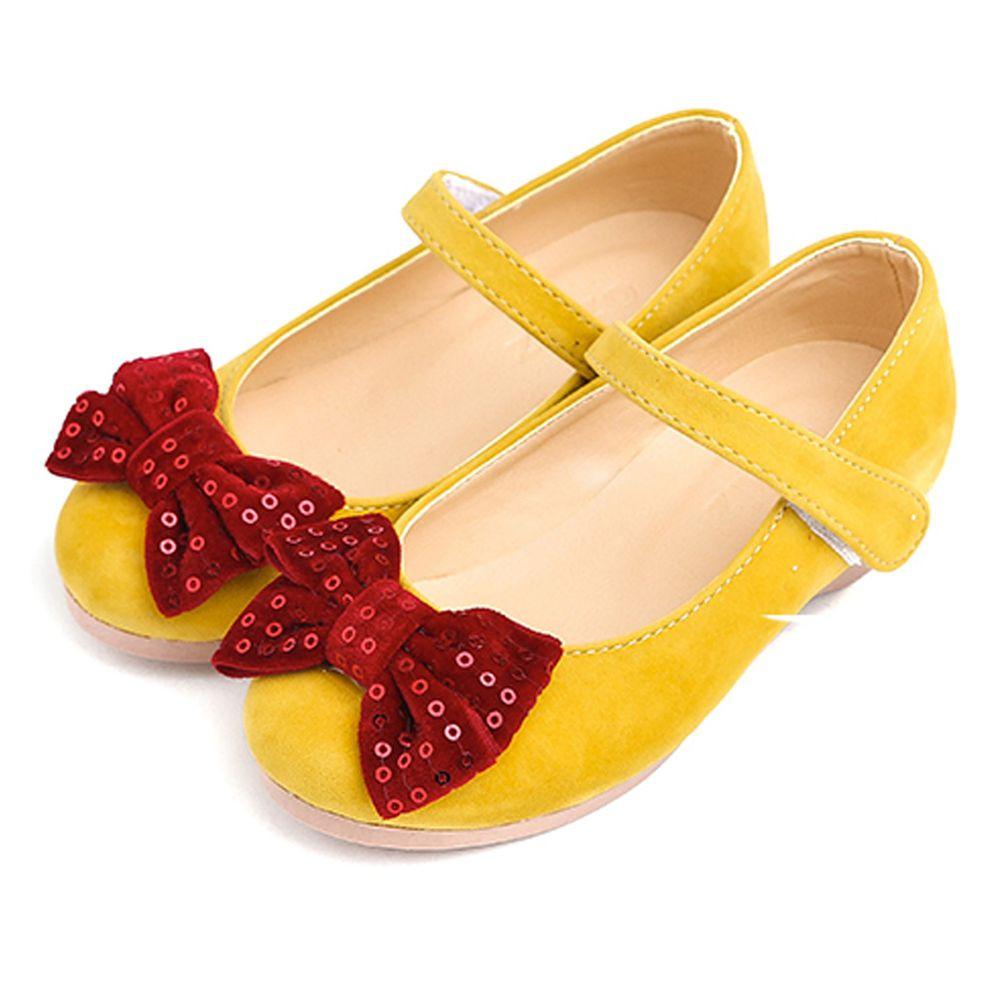 韓國 OZKIZ - 蝴蝶結麂皮鞋-芥末黃鞋/酒紅蝴蝶結