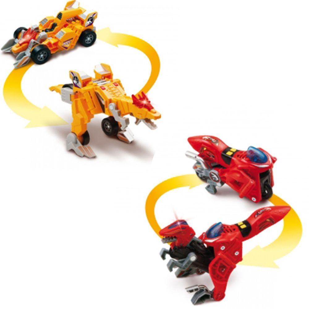 Vtech - 【超值1+1組】聲光變形恐龍車2入組-迅猛龍(紅)+冥河龍(黃)