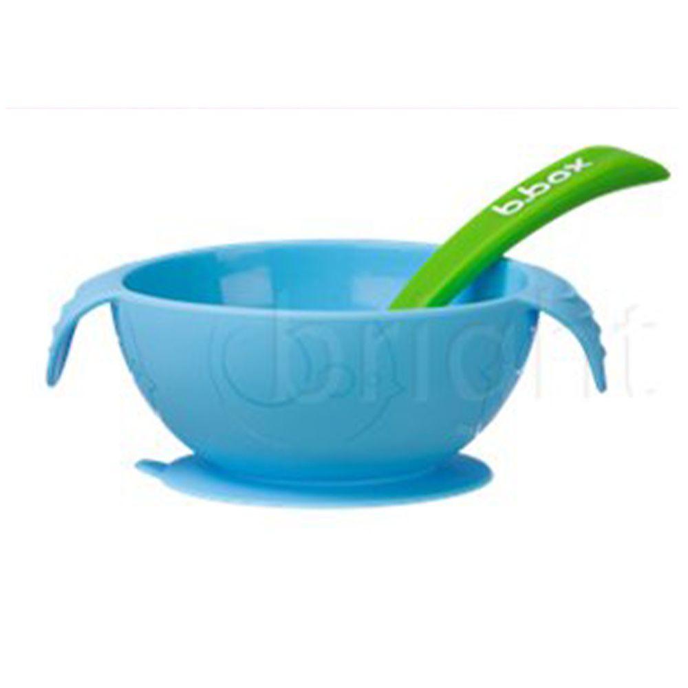 澳洲 b.box - 寶寶矽膠餐碗組-海洋藍-碗15.5x5.3cm+湯匙15.5cm