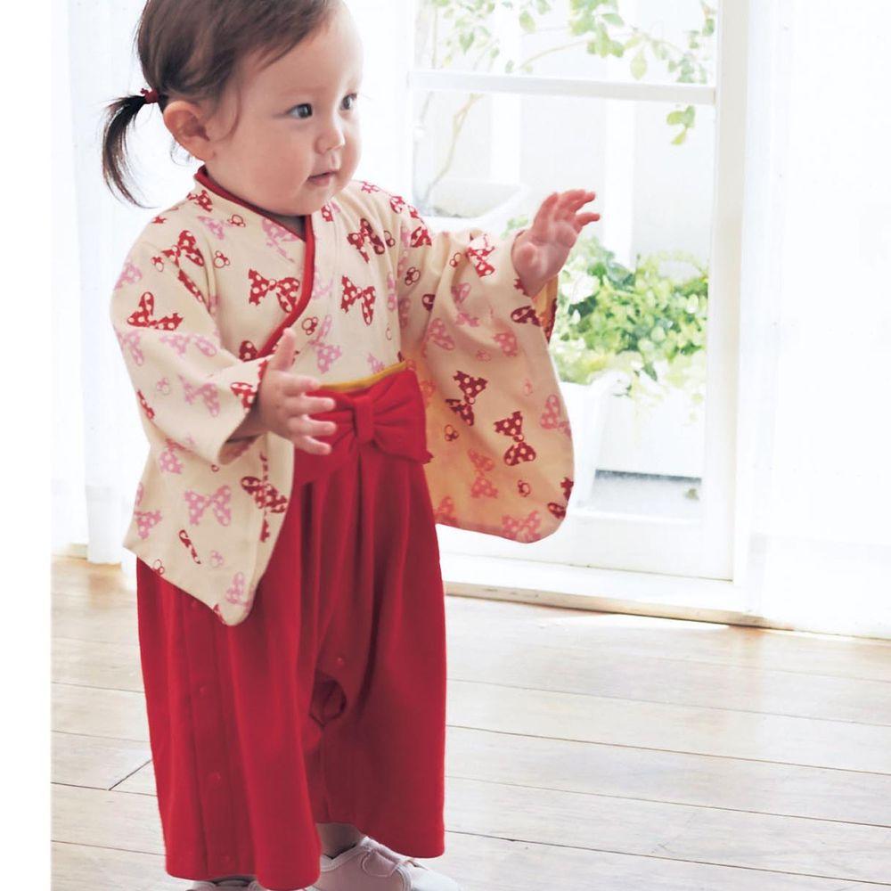日本千趣會 - 迪士尼 純棉日本傳統袴 和服(連身衣式)-米妮-紅 (90)