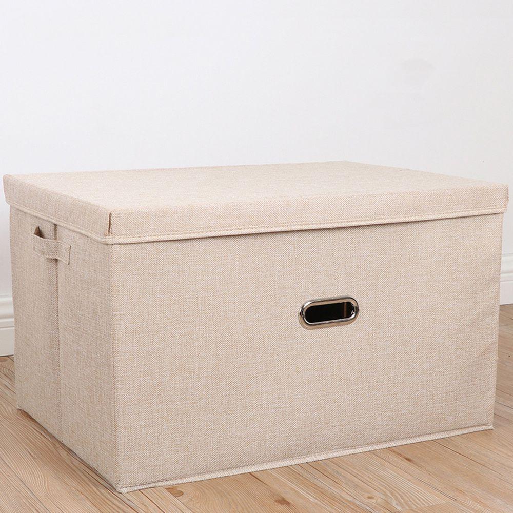 棉麻折疊收納箱-米白
