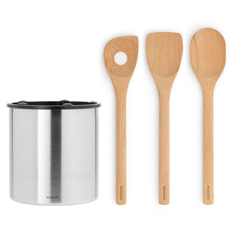 荷蘭 Brabantia - 木製料理配件3入+不鏽鋼廚具收納桶