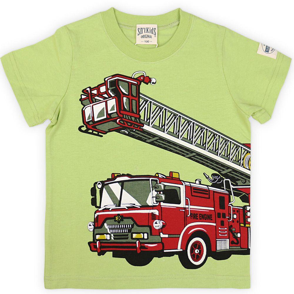 日本服飾代購 - 純棉印花短袖上衣-消防車出動-綠
