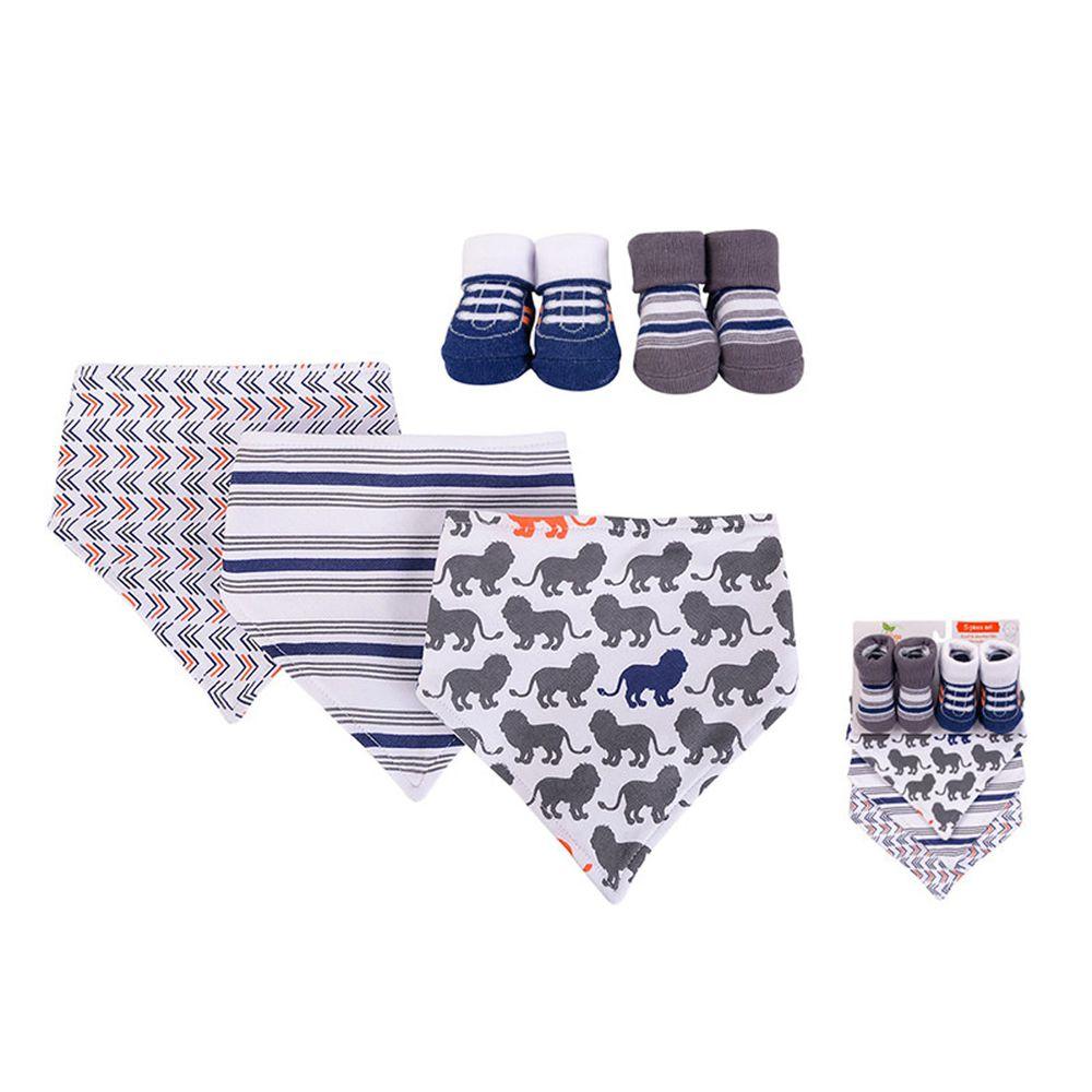 美國 Luvable Friends - 100%純棉三角領巾3入組+短襪2入套裝組-調皮獅子