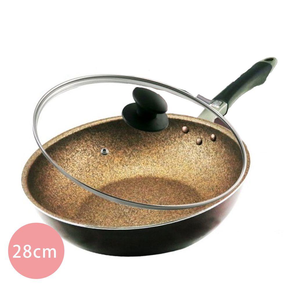 日本北陸 hokua - 超耐磨輕量花崗岩不沾炒鍋-贈防溢鍋蓋(可用鐵鏟/不挑爐具)-28cm