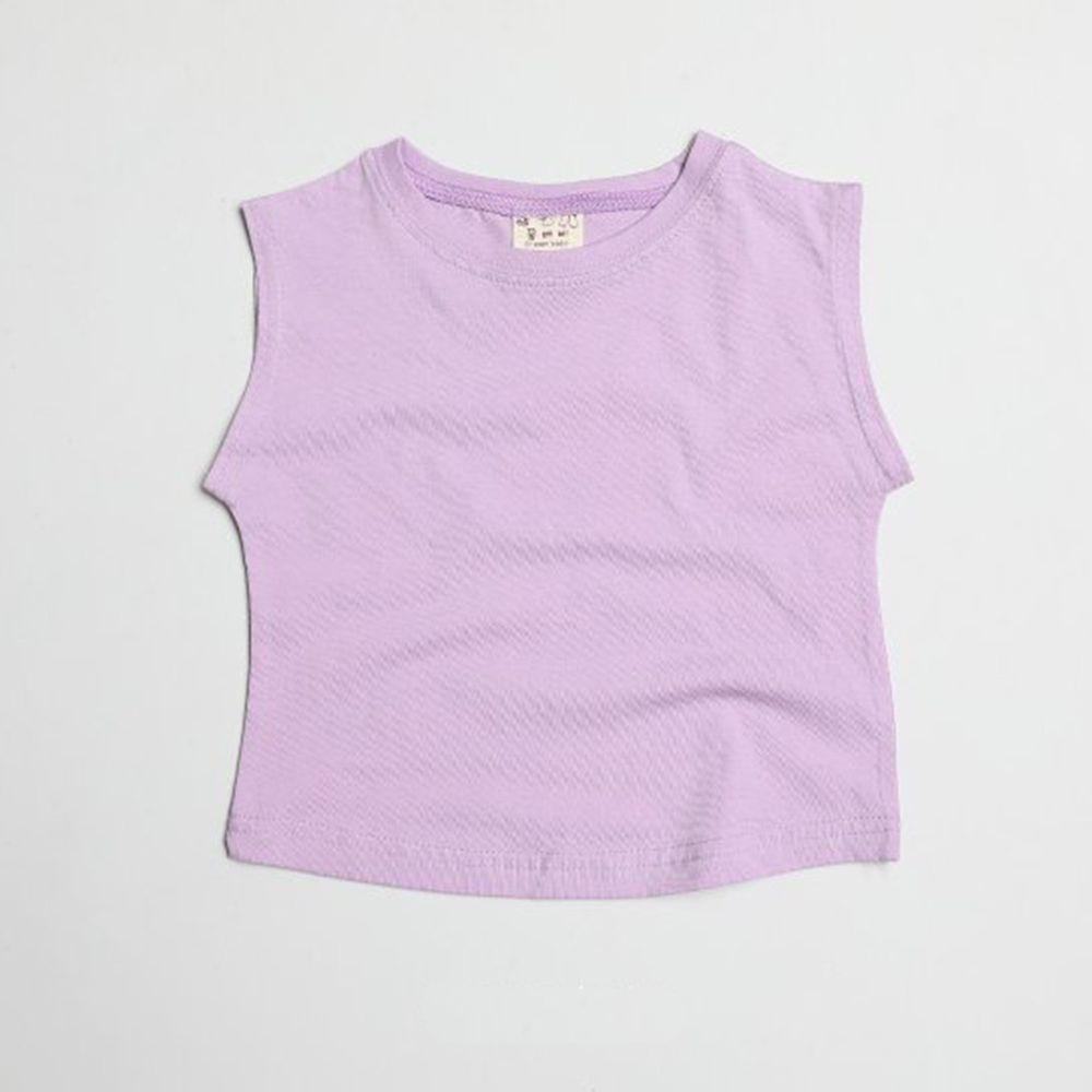 韓國製 - 水洗加工布純棉無袖T-紫