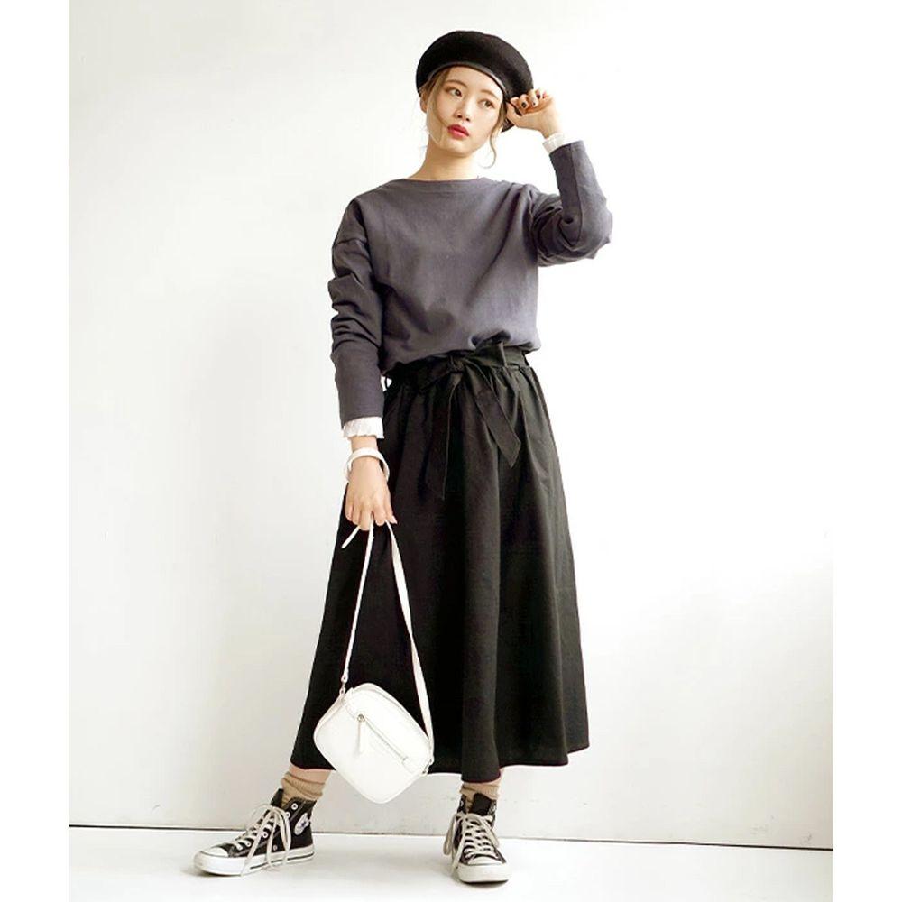 日本 zootie - 假兩件知性拼接洋裝-深灰/黑 (M)