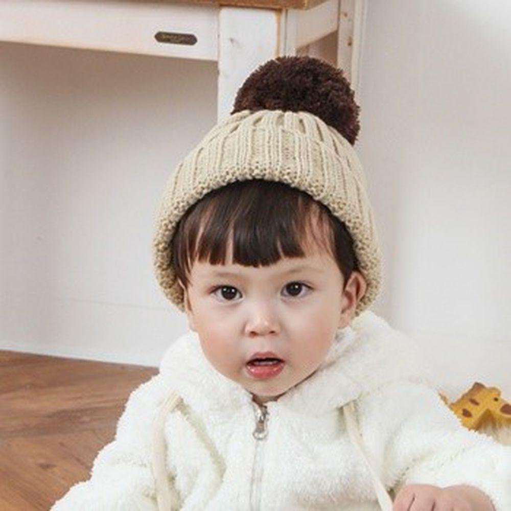 韓國 Babyblee - 大毛球針織毛線帽-杏 (FREE)