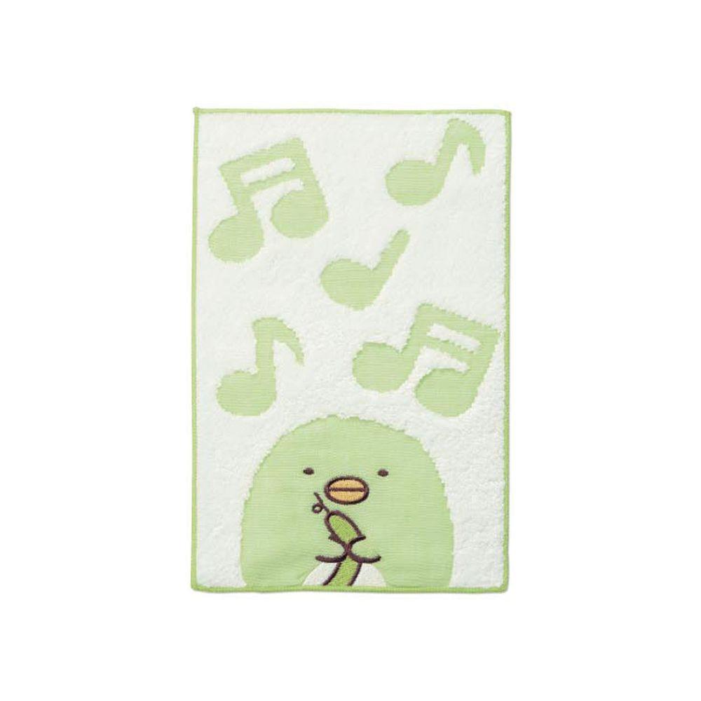日本千趣會 - 角落生物 質感雙材質毛巾手帕-偽企鵝-綠 (15x24cm)