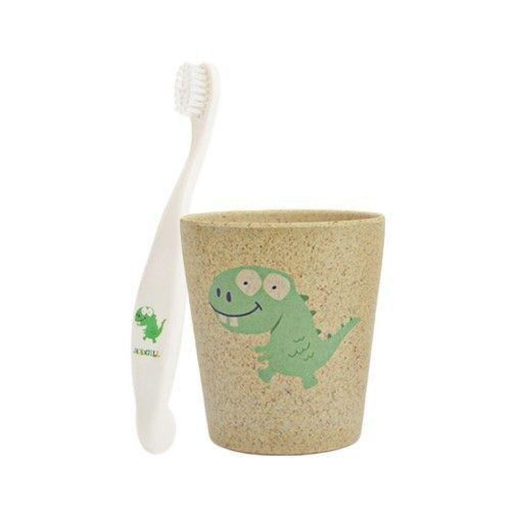 澳洲 Jack N' Jill - 恐龍刷牙組-植物牙刷x1+漱口杯x1