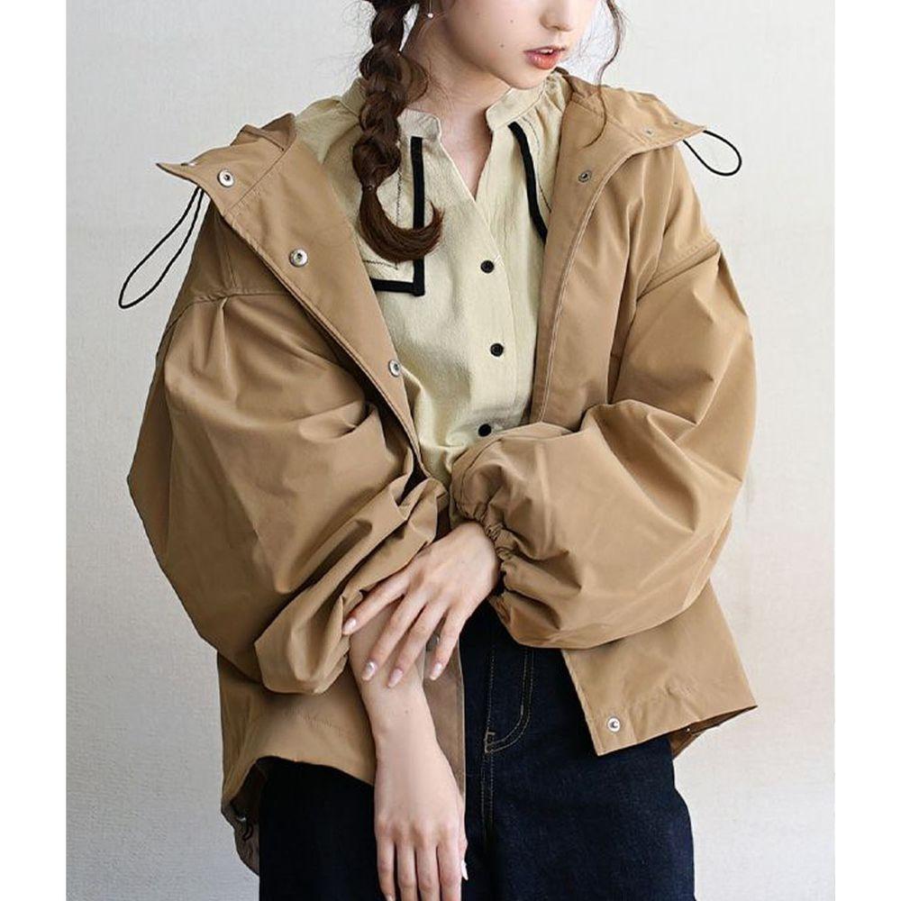 日本 zootie - 抽繩設計修身寬鬆連帽休閒外套-杏