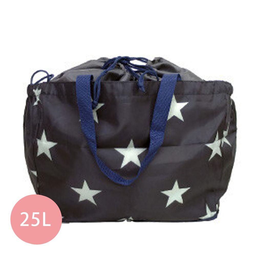 日本 Chepeli - 超大容量保冷購物袋(可套購物籃)-星星-黑-25L/耐重15kg