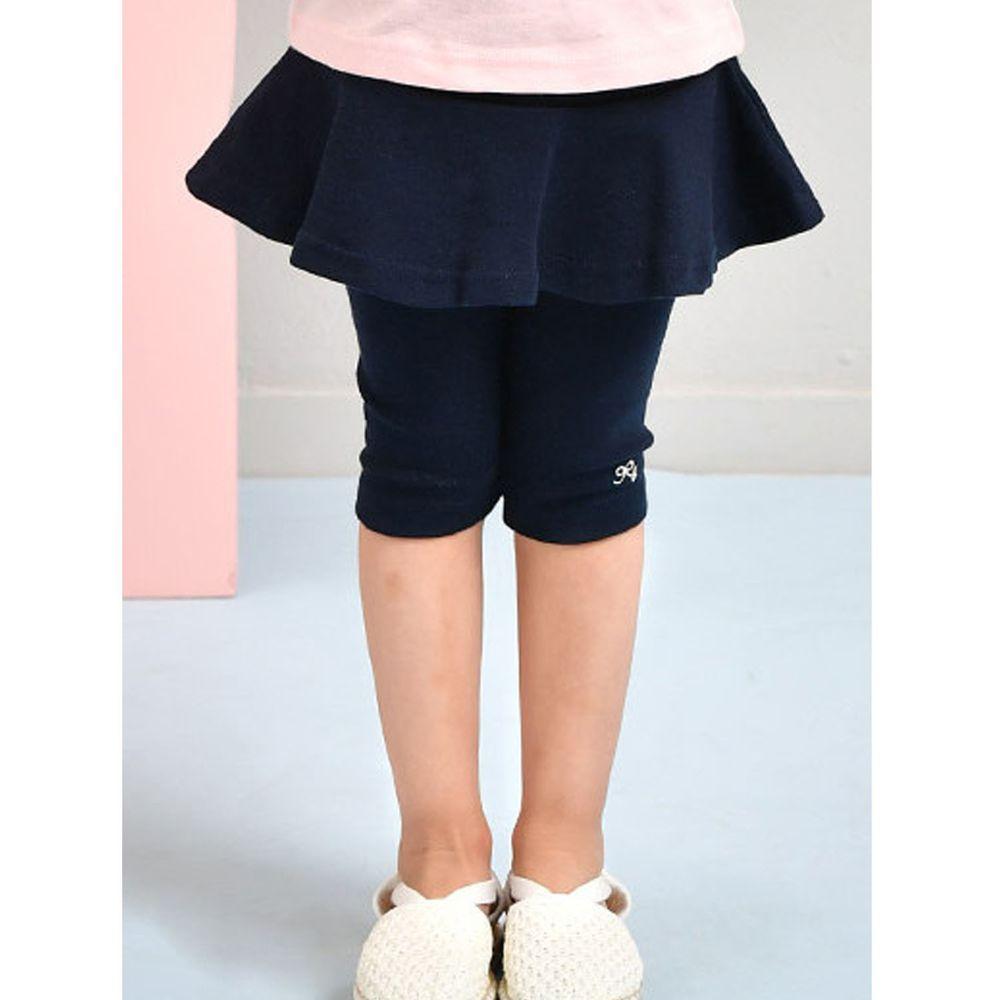 韓國 Jelispoon - 迷你蝴蝶結7分褲裙-深藍