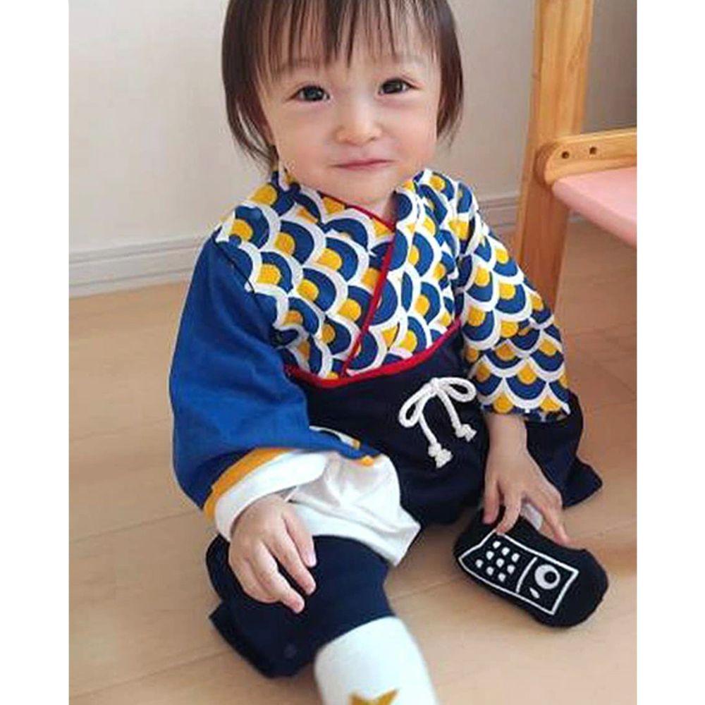 日本 ZOOLAND - 日本傳統袴 和服(連身衣式)附贈襪子-鯉魚旗-藍 (90)
