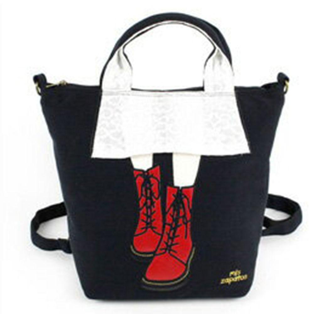 mis zapatos - 3way美腿包(棉布)-馬丁靴-BK黑色 (21*30*15cm)
