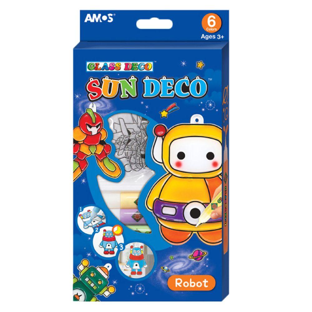 韓國 AMOS - 6色機器人主題吊飾玻璃彩繪膠