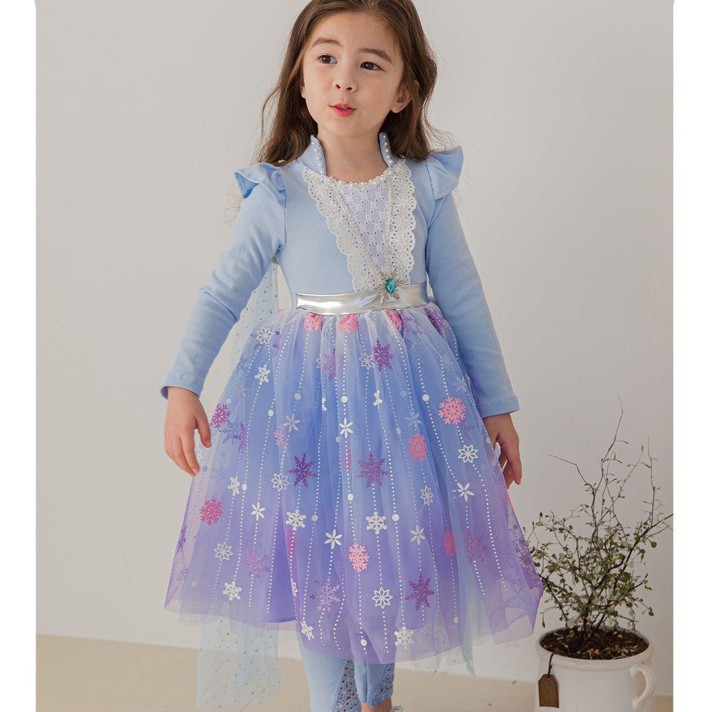韓國 mari an u - 漸層雪花荷葉袖公主洋裝-冰雪藍