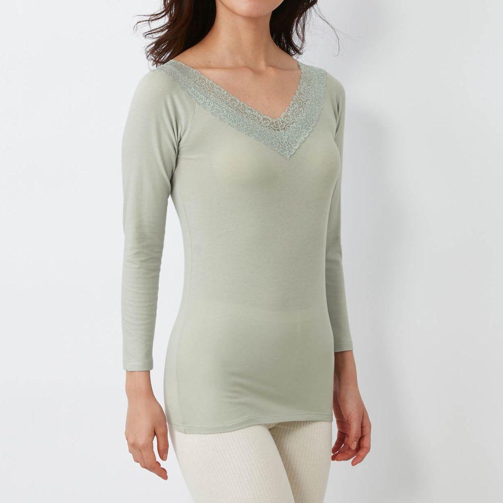 日本千趣會 - 95%棉 (媽媽)蕾絲領口九分袖發熱衣-薄荷綠
