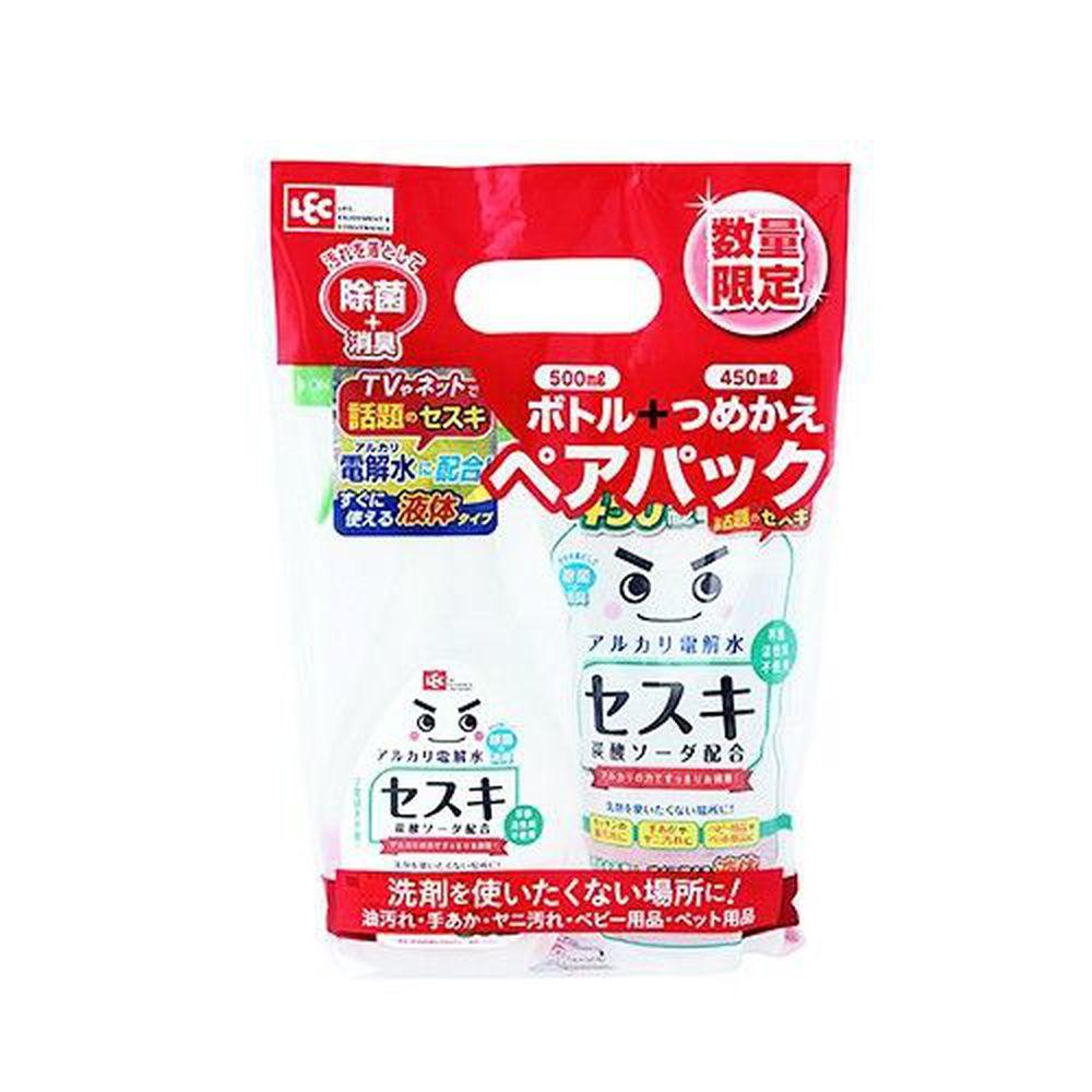 日本 LEC - 激落倍半碳酸鈉電解水限量組合包-500ml x 1瓶 + 450ml x1包