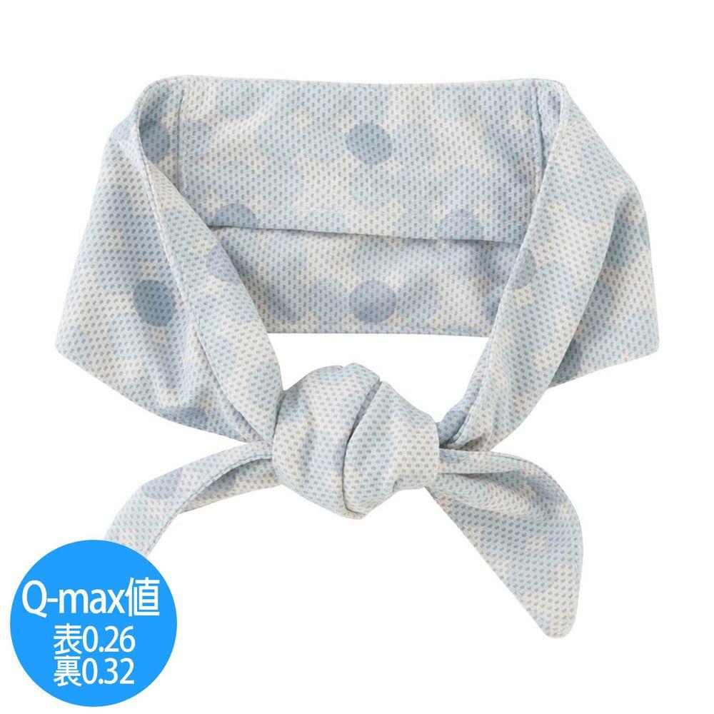 日本小泉 - UV cut 90% 接觸冷感 水涼感領巾(附保冷劑)-漸層波點-淺藍白 (8.5x88cm)