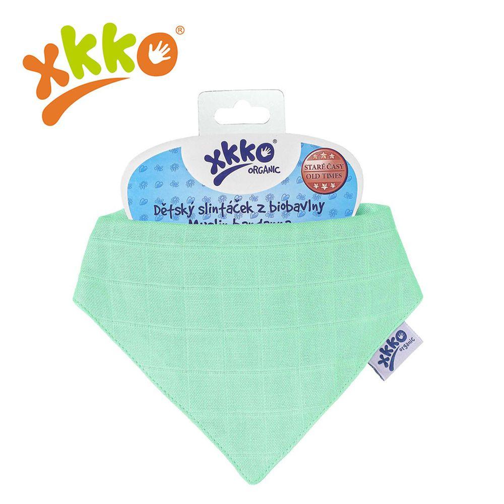 XKKO - 有機棉紗布口水巾-粉綠色