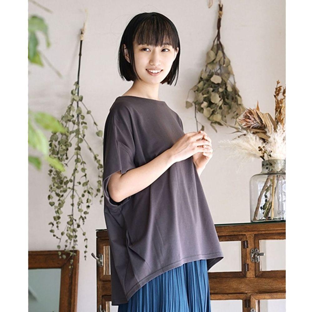 日本 zootie - Design+ 顯瘦立體感剪裁落肩五分袖上衣-深灰