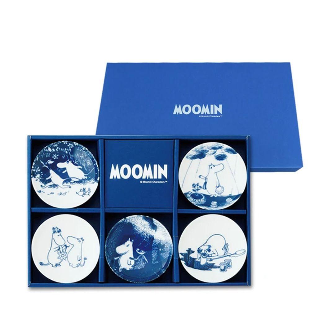 日本山加 yamaka - moomin 嚕嚕米彩繪陶瓷迷你盤禮盒-MM2700-127-5入組