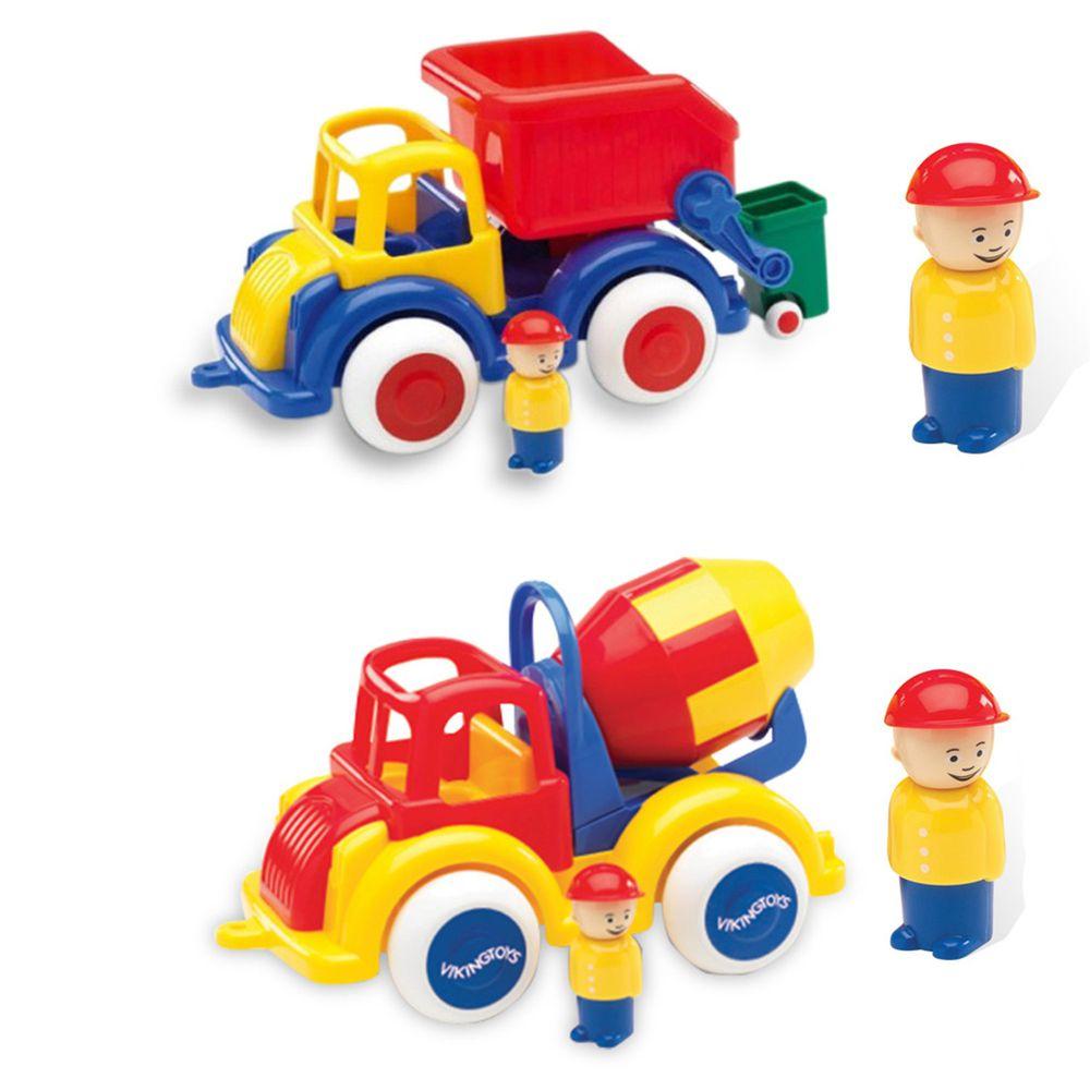 瑞典Viking toys - 【超值組】Jumbo28cm恰克回收車(含2隻人偶)+Jumbo28cm水泥車(含2隻人偶)