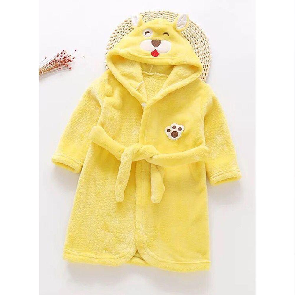 超柔軟珊瑚絨浴袍睡衣-黃色小熊