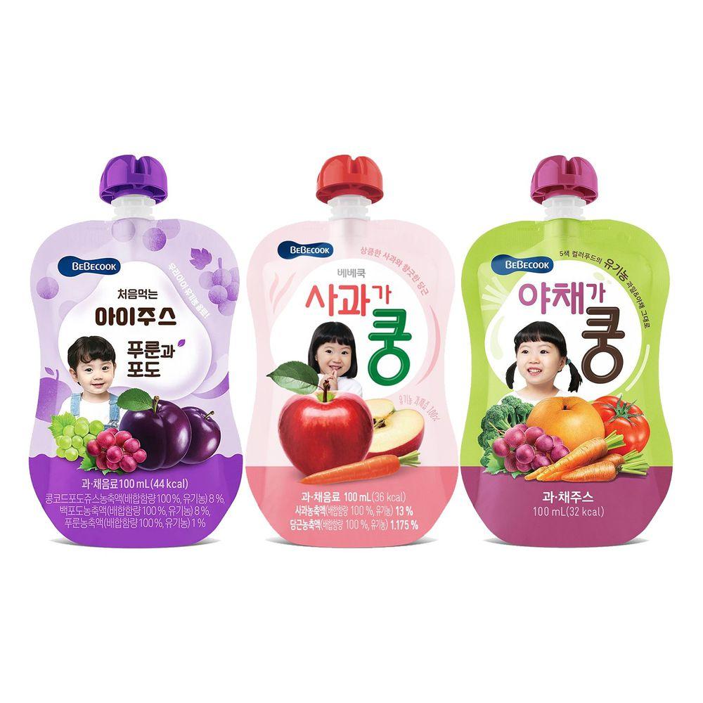 BEBECOOK 寶膳 - 智慧媽媽 嬰幼兒果汁系列-中寶寶組 三入-蘋果紅蘿蔔7M*1+綜合葡萄西梅7M*1+綜合蔬果9M*1-1年