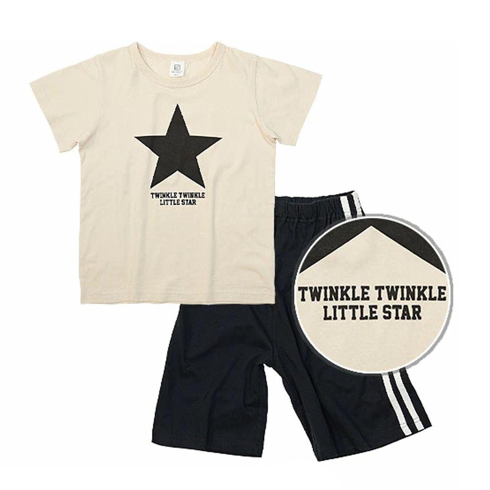 日本 devirock - 純棉短袖家居服-美式星星-杏X黑