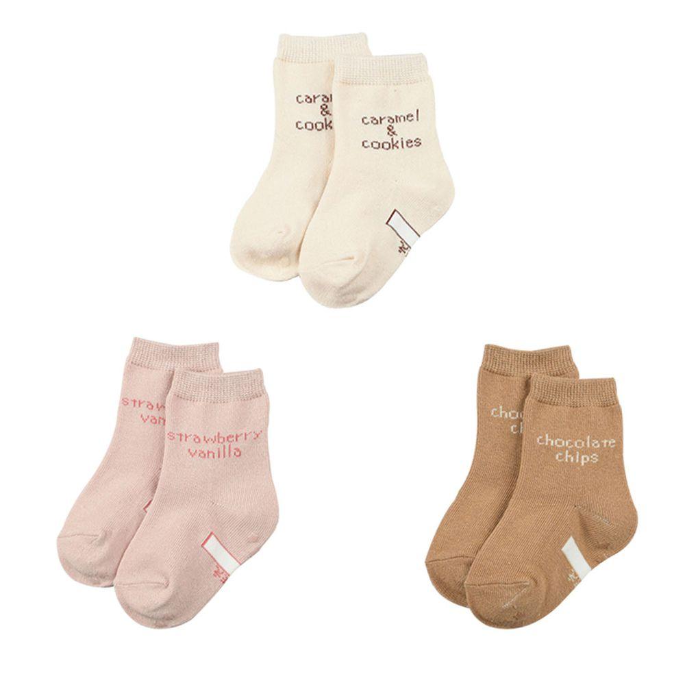 akachan honpo - 女中筒襪3雙組-英文字-淺卡其色 (9~14cm)