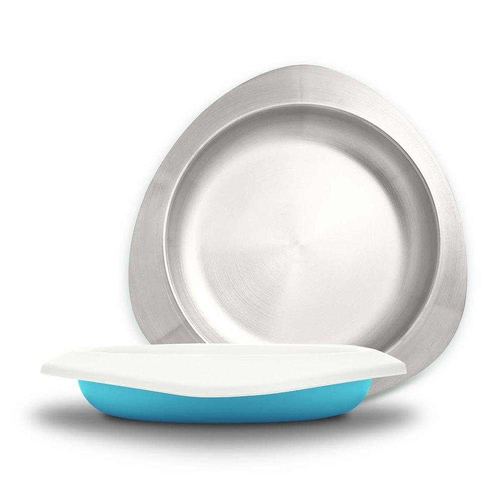 VIIDA - Soufflé抗菌不鏽鋼兒童餐盤-餐盤-藍