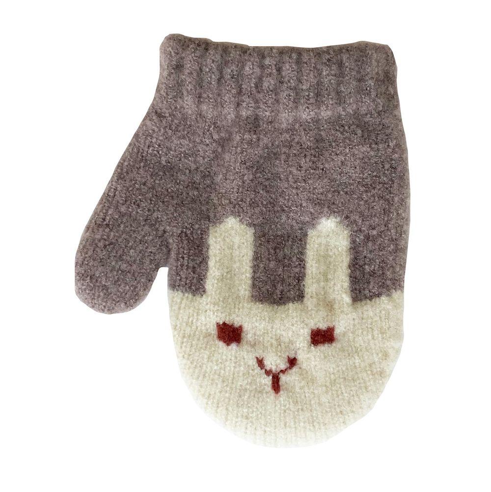 日本 BISQUE - 日本製質感小孩併指手套-兔子-米灰 (3-6y)