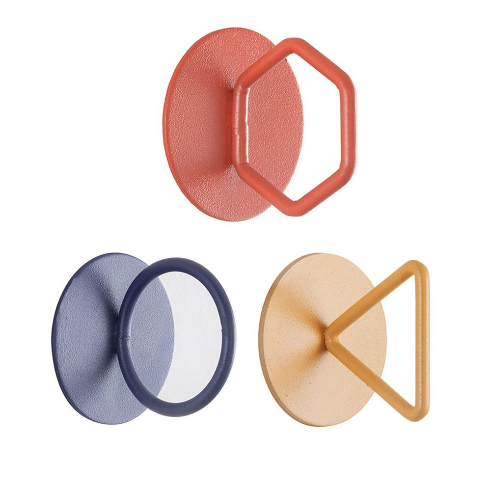 北歐文藝造型掛鉤-3入組-藍色圓形+黃色三角形+紅色六邊形