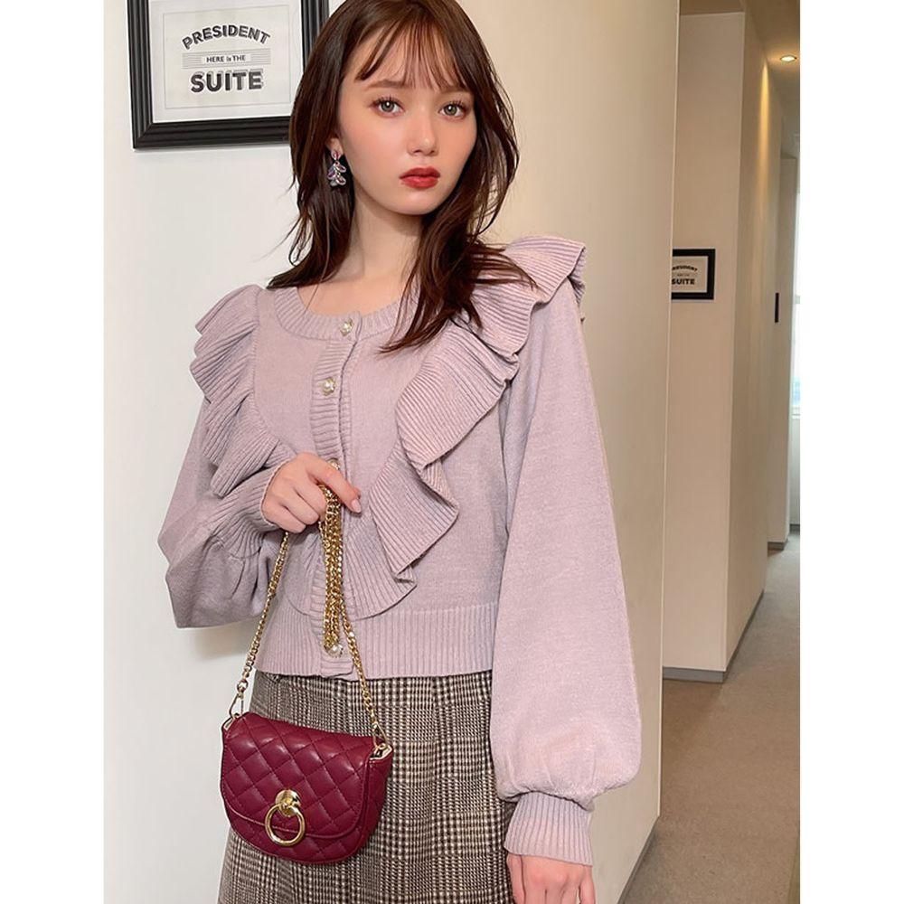 日本 GRL - 荷葉珍珠釦短版長袖針織上衣/外套-紫