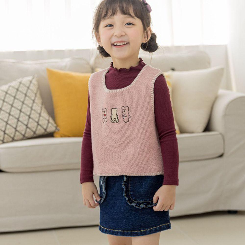 韓國 Orange Mom - (現省$150)三件式背心套裝-粉紅背心酒紅上衣X牛仔短裙
