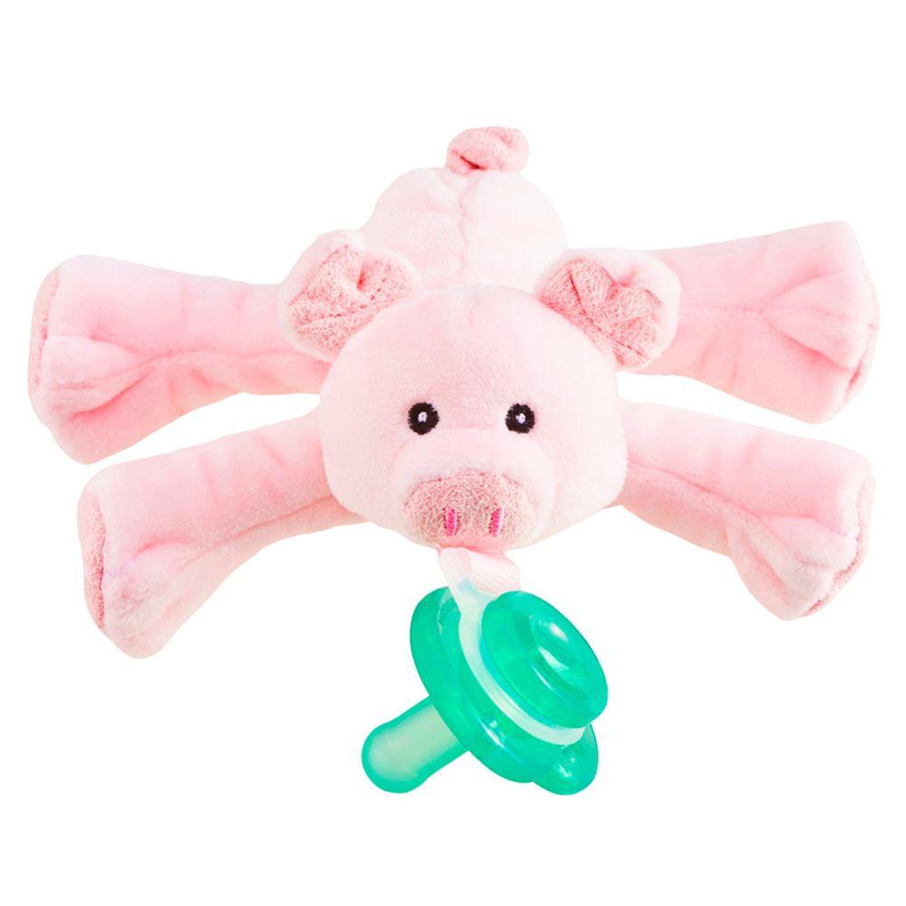 美國 nookums - 寶寶 可愛造型 安撫奶嘴 / 玩偶-(搖鈴款) - 粉紅豬