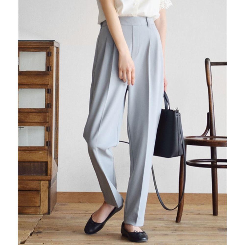 日本 zootie - 美腿彈性復古雪紡哈倫西裝長褲-灰藍