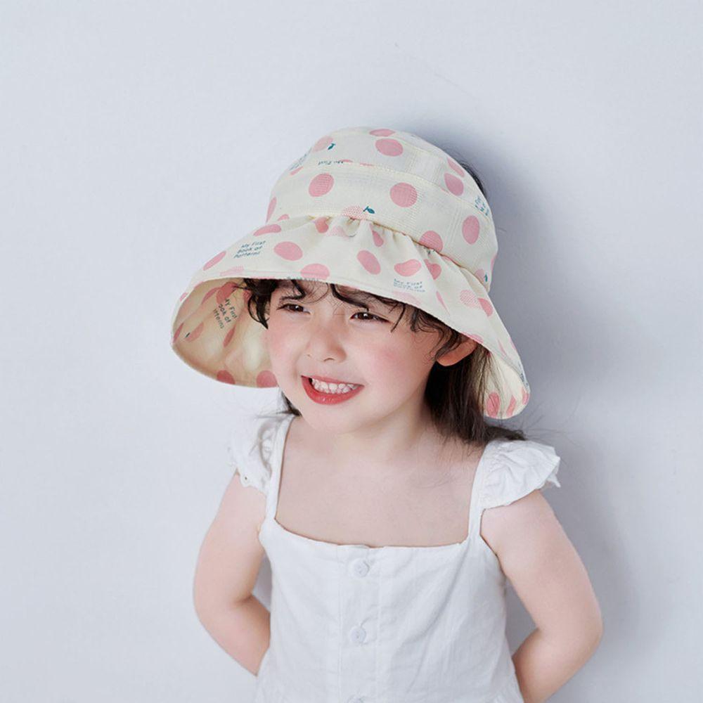兒童薄款空頂遮陽帽-粉色點點 (49-51cm)