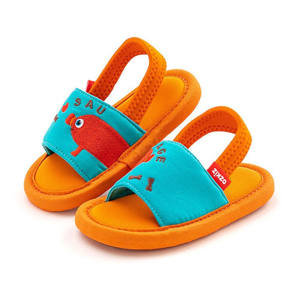 韓國 OZKIZ - 消音防滑室內鞋-鬆緊帶款(布萊德理髮廳)-橘